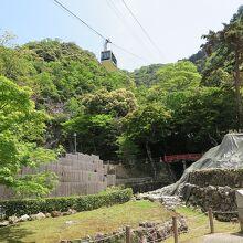 「織田信長公居館跡」上空を通って岐阜城へ向かいます