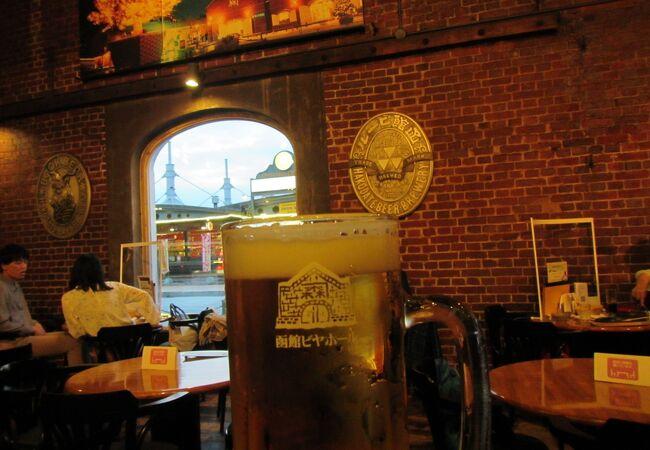 金森赤レンガ倉庫内にあるビヤホールのレトロな雰囲気を味わえるレストラン