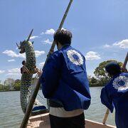 華道祭で舟遊び