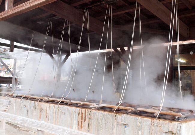 小浜温泉の源泉の蒸気で蒸した料理が楽しめます