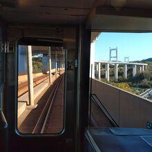 瀬戸大橋群に入ると吊り橋の大きな主塔が見える