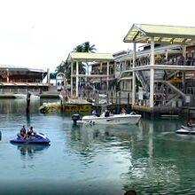 ベイサイド・ハーバーでボート遊びをする人達