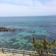 きれいな海と海女さんを眺める