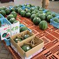 夏季には西瓜コーナーが充実しています。馬の蹄鉄・猪の牙など珍しい特産品が販売されています。
