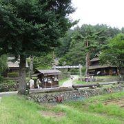 茅葺き屋根の古民家が見ごたえあります。