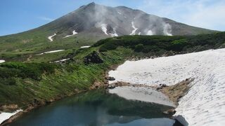 眺める場所によって山の形が違う