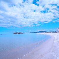 ホテル前湯野浜海岸から鳥海山