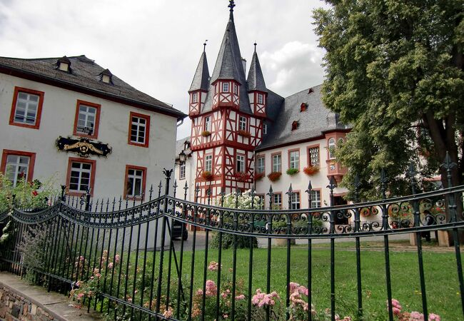 木枠組で尖り屋根のあるドイツ風の見事な建物
