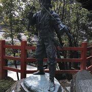 若かりし宮本武蔵像がある八大神社