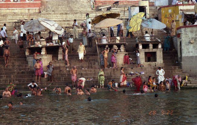 サルナート、ベナレス、カジュラホを巡った、旅行記です。<br /><br />ベナレスは、3000年以上の歴史を持つヒンドゥー教の聖地中の聖地だ。ヒンドゥーの信仰によれば、ガンガーの聖なる水に沐浴すれば、全ての罪は浄められ、ここで死に、遺灰がガンガーに流されれば、輪廻から解脱すると信じられている。火葬場のすぐ下流で沐浴するシーンの体験は強烈だ。