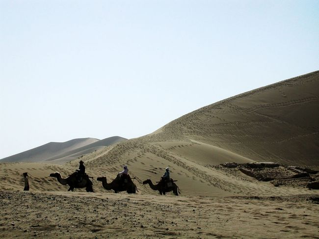 月牙泉を見終えて、鳴沙山へ向かいます。<br />月牙泉にある駱駝乗り場から、帰りの玄関までの道程をお楽しみ下さい。<br />観光シーズンの鳴沙山は、駱駝や観光客の足跡が消えないまま残っていて、景観的には今一つですね。(扉画像参照)<br />