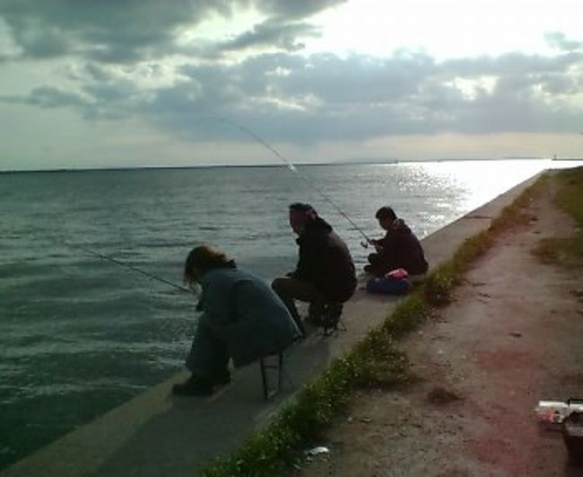<br />今日は気温が低くって、曇っていて、寒い朝です。昨日も予想以上に寒かったですね。<br /><br />昨日、行ってきました、五年ぶりの釣りです!<br /><br />友達って優しいなと感謝の昨日でした。ここのところ元気のない私を釣りに誘い出してくれました。<br /><br />午前中の仕事終わりで、遅れて参戦の私。<br />師匠、ありがとうございます!<br /><br />私の周りの仕事仲間は《遊びは真剣に》ってメンバーが多くって、《仕事するのは遊ぶため》って言い切ってしまう人も多いのです。<br /><br />私もどっちかというとソチラ系で、アウトドア大好き、じっとしてるの大嫌い。もちろん、そのぶん皆さん、仕事のときの頑張り・集中はすごいものがありますけど(^.^)<br /><br />昨日も火曜日だというのに、働き盛り六人が、午後から集まり、大阪南港で釣りが出来るんだから、世間からちょっとずれてる?<br /><br />             <br />イヤー、寒かったですよぅぅ、風も強いし。<br />たまに太陽が顔を出してくれると、拝みたくなるくらいありがたかったです。帰る前は、手の感覚がなくなってました。<br /><br />で、ご期待の釣果なんですが、……ゼロ!(;_:)。<br /><br />まったくアタリなし。<br /><br />まっ、くらげの尻木魂抜いたり、置き竿にボラ引っ掛けて、一瞬、大物が釣れる夢を見せてもらったりしましたけど(~o~)<br /><br />帰りはあまりの寒さに、なぜか焼き鳥屋さんで乾杯。<br /><br />釣りって、知らない人が一緒でも、いろいろ話してのんびりできる時間だから、いい一日でした。<br /><br />