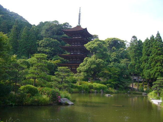 平成19年6月11日(月)<br /> 津和野を後にして山口へ向かった。観光バスで移動すると簡単だが公共の交通機関を利用しての個人旅行だとこんなに効率よくは廻れないだろうとつくづく思う。<br /><br />  山口では雪舟の庭として有名な常栄寺<br />http://www.sanjo.co.jp/kankou/mis/usagawa.html<br /><br />と瑠璃光寺http://www.oidemase.or.jp/tsuredure/yamaguchi/rurikouji.htmlを訪問した。                           <br /><br />  常栄寺の庭は新石庭と雪舟の庭と二つあり石庭の方にに興味を引かれた。頭の中には龍安寺http://ja.wikipedia.org/wiki/%E9%BE%8D%E5%AE%89%E5%AF%BAの石庭を思い出しながら比較していた。<br /> <br />  また、雪舟作の枯山水の庭を見ながら小僧の頃総社市の宝福寺<br />http://www.city.soja.okayama.jp/kanko/kankochi/sessyu.jsp<br />で涙で鼠の絵を描いたと言う逸話を思い出していた。<br /><br /> そして妹達と宝福寺を訪問した時の楽しかった日のことも思い出した。                                   <br /> 常栄寺を後にして今回の旅では最後の訪問先となる瑠璃光寺   http://ja.wikipedia.org/wiki/%E7%91%A0%E7%92%83%E5%85%89%E5%AF%BAへ行った。大内氏の栄華の跡を偲ばせる五重の塔は傑作だと思った。