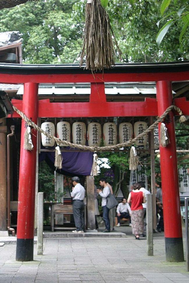 06年7月末、大賀ハスを見た後、近くにある岐阜県海津市平田町のお千代保(おちょぼ)稲荷にお参りをしてきました。伏見稲荷(京都)、豊川稲荷(愛知)と並んで 日本三大稲荷の一つで、「おちょぼさん」の愛称で親しまれています。他の二つの神社に比べ小さな神社ですが、ご利益があるのか沢山の人で賑わっていました。お千代保稲荷は、商売繁盛・家内安全の神様として有名で、毎月1日の月並祭は夜のうちから多くの人出があるそうです。近くまで来て寄らずに帰ることは、もうチャンスがないかも知れません。意を決して寄ってみることに・・。