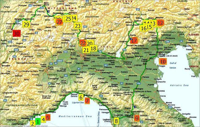 ニース空港でレンターカーを借りて、モナコ サンレモ ポリトフィーノ ピサ フィレンチェ ベニス ドロミテ渓谷 スイスへ