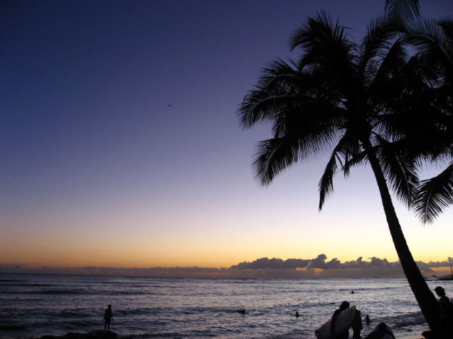 出発前の予定表です.<br /><br />僕と妻と娘達2人の4人での家族旅行ですが,僕以外誰も下調べをしてくれません.たった3泊なので,本当にベタな予定ですが,楽園ハワイの空気を吸うだけでハッピーになれるものとたかをくくっています.<br />いつものように,旅行中大ゲンカはするでしょうが...(^^ゞ<br /><br /><br /><br />8/22(水) <br />サンダーバード→はるか→関空21:40関空発<br />・・・・JAL・・・・<br />10:30 ホノルル空港→送迎シャトル→DFS内アロハステーション<br />    ツアー会社からの説明<br />    携帯のレンタル4人分<br />    ホクレア号予約確認<br />オプショナルツアー会社へ(徒歩<br />    ディナークルーズ説明と代金支払い<br />12:00 チェックイン<br />   (シェラトンワイキキオーシャンビュー20F以上)<br />    着替え 休憩 散策<br />★昼食★ ホノルル市内(未定)<br />15:00 アバサワイキキ・スパ ロミロミ50分 $120(カミさん)<br />    予約済(コピー持参)<br />★夕食★ ホノルル市内(未定)<br />★夜  フリー カクテル,散策,無料ビーチフラショーなど<br />**初日は時差ぼけと疲労のため,行動は状況を見て判断<br /><br /><br />8/23(木)<br />朝食(前日購入し,ホテルの部屋で)<br />9:00 ホクレア号 ハワイアン・ヒストリカル・ツアー 予約済<br />★昼食★ ホノルル市内(未定)<br />  散策/トローリーバスなど<br /><br />17:30 ロイヤル・ハワイアン・ルアウ(夕食込)-20:30<br />    予約済(20%ディスカウント・クーポン持参,HPよりプリント)<br /><br /><br />8/24(金)<br />ホテルブランチ(ロイアルハワイアンかな?)<br />★ショッピング&お土産<br />16:00 ディナークルーズ&夜景 予約済(スターオブホノルル3スター+リムジン)ハワイジャパン(-21:00)<br /><br /><br />8/25(土)12:40ホノルル発<br />・・・・・・・・<br />*********機中泊***************<br />8/26(日)16:25関空着<br /><br />★食事候補リスト<br />☆チーズケーキファクトリー(アラモアナSC),<br />☆エッグスン・シングス,(カラカウア通り)<br />バニヤン・ベランダ,(サーフライダー)<br />☆サーフ・ルーム(ロイヤルハワイアン)<br />チーズバーガーインパラダイス(カラカウア通り)<br />マイタイ・バー(ロイヤルハワイアン)<br />オーシャン・テラス(シェラトンワイキキ)<br />ミーBBQ<br />カカアコ・キッチン<br />ババ・ガンプ・シュリンプ<br />(とりあえず☆は行こうと思ってます(^^ゞ)<br /><br /><br /><br />オリジナル市内観光バス「ホクレア号」ルート2<ハワイアン・ヒストリカルツアー>無料<br />9:00出発 約3時間8/2(木)DFS→ ○ワイアラエ・ビーチパーク → ●ヌアヌ・パリ(約20分)→ ●ビショップ博物館(約15分)→ ●モアナルア・ガーデン(約15分)→ ○カメハメハ大王像 → アラモアナSC → DFS<br /><br />現在マイレージ奮闘中!<br />http://ontheroad2007.blog122.fc2.com/
