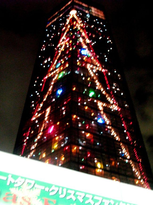 千葉港の展望塔にはイルミネーションが11月17日から輝きます。日本一高いクリスマスツリーとのこと・・。東京湾アクアライン、幕張新都心地区、港湾、工場施設群など夜景も見ごたえがあります。<br /><br />千葉ポートタワークリスマスファンタジー2007 <br />タワーの壁面に描かれたビッグツリー。周りで瞬く電球がまるで舞い降りる雪のよう<br />・開催期間   2007年11月17日〜12月25日 <br />・点灯時間   17時〜20時(12月23〜25日は〜24時) <br />・電飾数   約3,500球 <br />・千葉ポートタワー    043-241-0125   <br />        千葉県千葉市中央区中央港1丁目 <br />