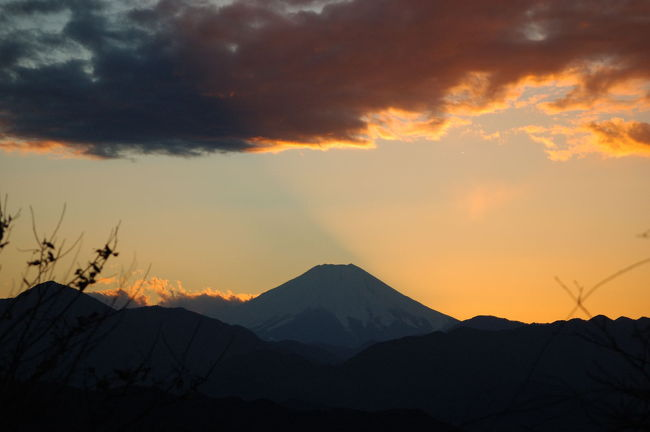 この4travelで大晦日に高尾山山頂から富士山を望むと富士の山頂に沈む夕日を見ることが出きる事を知った。いわゆるダイヤモンド富士。高尾山といえば小学生の頃家族でハイキング、高校のころは体育の屋外授業でなじみの深いところだが山頂から富士山が見えることすら私は知らなかった。<br />そして今回年末年始の帰省のときその富士山を見ることにした。<br />しかしあいにくの天候で31日、1日と曇り気味。1日は午前中はものすごい快晴だったが午後から曇り。2日快晴。昼をまわってもまだ快晴。<br />20数年ぶりに高尾山へ。通学で使った中央線で高尾まで。高尾から高尾山口まで京王線。昔とあまり変わらない沿線を見ながらちょっと思い出にふけた。<br />日没まで時間ギリギリ。リフト山頂駅から走るように山頂へ。富士に沈む夕日が見えた!<br />しかし!太陽は残念ながら富士山に向かって右側の斜面に沈んでいった。真上に沈む夕日を見ることができなかった。あまり価値のある旅行記にはならないけど2008年最初の夕日の写真を見てください。<br /><br />高尾山公式ホームページ<br />http://www.takaotozan.co.jp/index2.htm