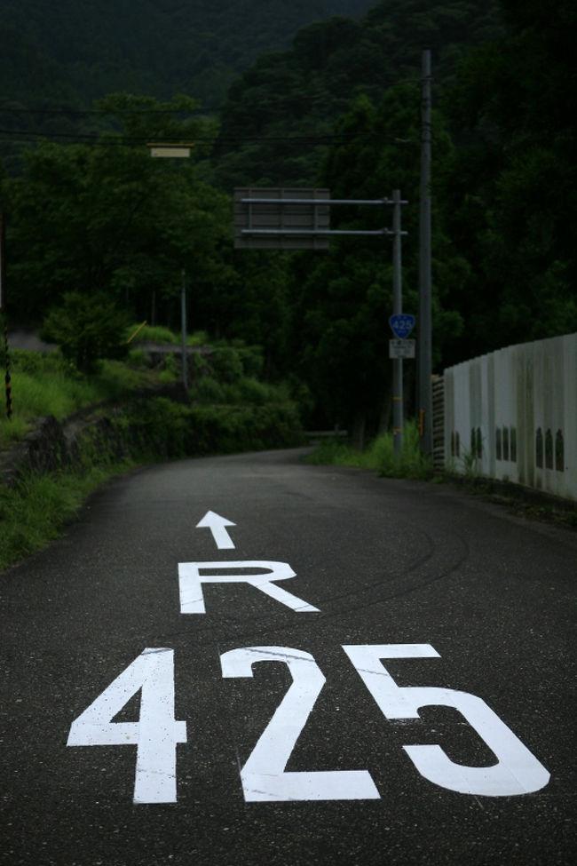 日本三大酷道「死にGO!」とは国道425号線。十津川−龍神間を走る<br /><br />以前、登山道国道、国道289号線を御紹介しました。<br /><br />それ以降、私の国道ならぬ酷道(注)への興味も<br />増大しつつあります。<br /> (注)(道路状況の悪い「国道」を酷道と当て字し、<br />その走破の道を突き進むのが酷道マニア!)<br /><br />酷道マニアは必ず押さえなければならないとされているのが、この国道425号。<br />ここは徳島〜高知の439号、長野〜岐阜〜福井の418号とともに、<br />日本三大酷道とされるス〜パ〜酷道です。<br /><br /><br />国道425号は紀伊半島横断国道。とされています。<br />御坊〜田辺市龍神〜十津川〜下北山〜尾鷲と紀伊半島を突き抜けます。<br /><br />しかし小縮尺の地図(広域地図)でみて、「お、ショートカット道!」などと<br />思ってはいけません。南の海岸線を大きく周る42号線より時間がかかります。<br /><br />なぜなら、<br />・全線が林道状態。<br />・舗装が荒れています。<br />・落石が多いです。<br />・枯れ葉、落ちた枝、砂が浮いています。<br />・多くの区間ですれ違いもままならない狭路。対向車が来ると悲惨です。<br />・ヘアピンカーブが続きますので、スピード出せません。<br />・断崖でガードレールの無い区間も多く、転落すると本当に死にます。<br />  (こんなところで対向車がくると、泣くことになるでしょう。)<br /><br />冗談抜きで、ペーパードライバー、初心者は行ってはいけません。<br />夜間などもってのほかです。<br /><br />コンビニなんてありません。途中、全く民家の無い区間が続きます。<br />ガソリンスタンドもありません。必ず給油をしてから挑んでください。<br />携帯が繋がらない地域も多い。よって助けを呼べません。<br /><br />そんなこんなで、実際、走るのは地元の方か、酷道マニア。