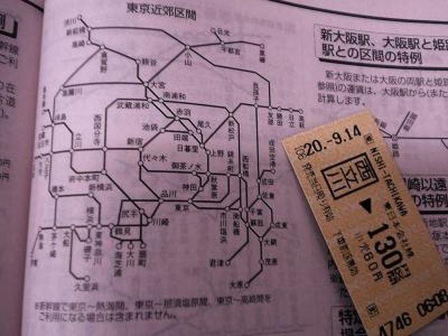 """最近ひそかなブームになっている(?)という「東京近郊区間大回りの旅」に挑戦してみた。<br />東京周辺のJR線に設定された【東京近郊区間】内で完結する乗車券の場合、乗車経路は一定のルール内で自由に選べるという特例を利用して、初乗り運賃で超遠回り乗車をするという""""遊び""""。<br />今回は八高線・両毛線・水戸線・成田線・東金線などをまわり、約15時間掛けて関東平野をほぼ一周した。<br /><br />※※※注意※※※<br /><br />東京近郊区間大回りには、当然ながら守らねばならないルールがある。<br /> 【同じ駅を2度通ってはならない】<br /> 【改札外に出てはならない】<br />また、ルートの始点駅・終点駅が東京近郊区間内であることはもちろん、途中の区間も全て東京近郊区間内であることが必要。<br />このルールに反した経路で乗車した場合は不正乗車となり、本来の運賃+2倍の増運賃を請求されることがある。<br />故意に不正なルートで乗車すれば、それは犯罪。(詐欺罪の構成要件云々と議論を挑むなかれ! 鉄道営業法にも罰則はあります)<br />ルールに関して、大手マスコミまでが解釈間違いをしている節があるので、十分注意すべし。<br /><br />≪必読! よくある勘違いの例≫<br />(1)ルートは一筆書きでなければならない<br /> これは絶対に犯してはならない勘違い。<br /> 大回り乗車の解説で「一筆書き」という単語を安易に用いてはならない。<br /> 近郊区間大回りではルートの""""交差""""は不可。<br />(2)一都六県内のJR線で可能<br /> この遊びが可能なのはあくまで「東京近郊区間」の範囲内。<br /> 首都圏や一都六県(関東地方)の範囲とは一致していないので要注意。<br /><br />東京近郊区間の範囲はこちら<br />http://www.jreast.co.jp/kippu/1103.html<br />東京以外に大阪・福岡・新潟にも近郊区間が設定されており、同様の遊びが可能。<br /><br />※追記※<br />2009年3月より東京近郊区間が拡大されたため、大回り乗車が可能な範囲が現在とは異なっています。"""
