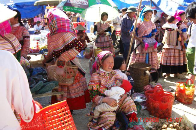ベトナム北西部ラオカイ省の少数民族はどのように収入を得ているのだろうか。年二回収穫の棚田の米作、サトウキビ、茶、スースーという人気野菜の栽培、茸類の高山薬草種の採取、後は伝統的な刺繍をほどこしたみやげ物販売。かれらは観光産業の主役であるはずだが、実はその大半をヴィエト族や中国資本にすい取られているのではないか。その家族も結構多額の借金を抱えているとも聞く。それが生活習慣(婚姻、家族主義、村社会等)から来るものかどうかは判らない。地元のアグリバンク(国立農業銀行)の統計も、増加する一方の中越国境貿易には触れているが、少数民族の経済には一言も触れていない。彼ら少数民族は重畳たる山々の縁取りにしかなっていないのか。ホテルの前に客待ちするお土産特攻隊はすごい。<br />11月9日(日曜日)サパから北東山間部バックハーに移動する。8時出発幸運であれば、3時間のドライブ。11時には着ける筈だ。狙いは花モン族のサンデーマーケット。<br /><br />タイトルの写真はバックハーの市場で乳呑児に授乳するH&#39;mongの母親。「乳欲しかそれ息整えて慈母の華モン」。赤ちゃんの赤い頭巾に母親の愛情がこもり、印象深い。きっといい子に育つだろう。