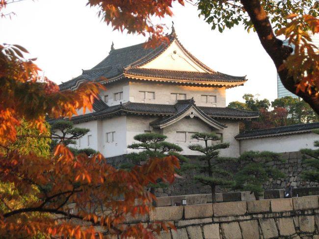 11月26日、午前6時45分にホテルを出発し、約1時間の早朝散策を行った。 前にも春に二回ほど大阪城公園を散策しているがこの時期としてははじめてである。<br />大阪の需要家訪問が後に控えているのでホテルを8時半に出発しなけれはならないので大阪城公園の散策を南半分に絞って実施した。<br /><br />(行程)<br />ホテルー(南外濠)ー大手門ー桜門ー大阪城ー桜門ー玉造口ー(南外濠)ーホテル<br /><br />(歩行距離) 約3キロ<br />(所要時間) 約1時間<br /><br />この旅行記としては次のように二部にまとめた<br />?ホテル~大手門~桜門<br />?桜門~大阪城~桜門~玉造口~ホテル<br /><br /><br /><br />*写真はNHK放送センター側からの大阪城千貫櫓の眺め