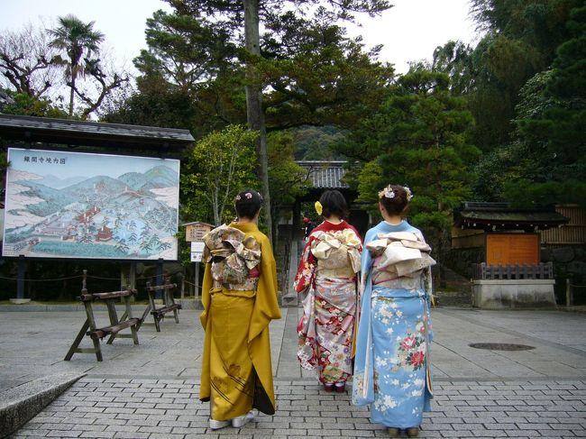 始まりは妹が振袖を購入した際の商売上手な業者さんの一言。<br />「もし京都へ行かれるなら、着物持参していただいたらこちらでお安く着付けなんかやらせていただきますし、そのまま京都散策なさったらいかがですか??」<br />・・・・☆彡<br />着物で京都散策?!素敵じゃないですか・・・☆<br />せっかく持ってるんだし着なきゃもったいないよね?!<br />っとなんとか母を乗り気にさせ、「三姉妹+母」の初女4人旅行が決定しました~♪♪<br />着物で散策したのは1日目だけでしたが夢のような一日でした☆彡<br />二度とはできないような貴重な体験をさせてくれた母に感謝です!!<br /><br />そして成人式でも結婚式でもないのに無駄に目立つ・・・<br />悪目立ちしてたと思うけど、そう、二度とは出来ないからいいのです。<br />思い出はプライスレス。。。!!<br /><br />一泊二日。<br />1日目…東山 銀閣寺→哲学の道→南禅寺+ライトアップ永観堂<br />2日目…清水寺と衣笠エリア<br /><br />前編は1日目の銀閣寺と哲学の道編♪<br /><br />ーーーーーーーーーーーーーーーーーーーーーーーーーーー<br />※2008年に投稿したものの写真を一部修正しました。枚数などに変更はありません。<br />※文章はほぼ最初のまま変更ありません。(一部加筆、修正あり)