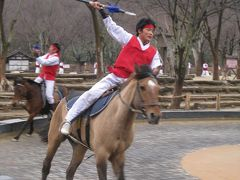 雨の水原(スウォン):韓国民俗村へ