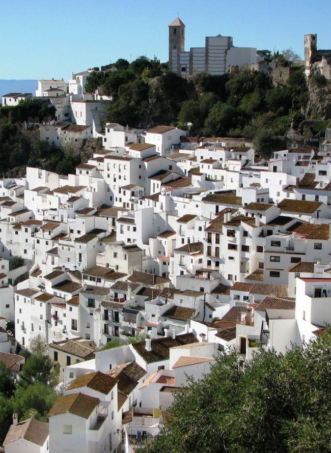 カサレス(Casares)。<br />地中海から10kmほど山側に入った、アンダルシアの小さな村です。<br />小高い山の頂上に中世の城跡と教会、その下の斜面に白い家々がびっしりと張り付いて、全体としてとても調和のとれた景観になっています。<br />村の名はローマ皇帝シーザー(カエサル)が近くの湯治場を使ったことに由来しているそうで、ずいぶん古くから人が住みついていたことになります。<br />日本では「カサーレス」とする本もあります。<br /><br />遠方からの旅行者にとっては、ちょっと不便なところです。<br />村への起点となる海沿いの町エステポナ(Estepona)からのバスは、1日2往復のみ。一軒だけのペンションは開いているのかいないのか、情報も不足気味です。<br />『日帰り』するか『宿泊』するか。一応、どちらにも対応できるよう心づもりをして、とりあえず行ってみることにしました。<br /><br /><br /><br />