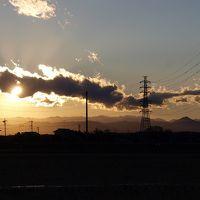 関東平野 冬−2 埼玉県 鴻巣市 箕田 夕日