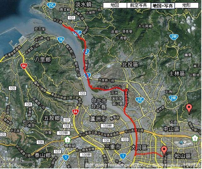 旅行記は、FaceBookに移行しました。<br />https://www.facebook.com/aoKaeru<br />--<br /><br />台北情報つぶやきます。Twitterは「@aokaeru」。<br /><br />台北にて、Birdy(日本名は、BD-1)と言う自転車を買う。<br />数十年ぶりのサイクリングだったが、最新自転車の進化と台北の安全なサイクリングロードに驚いた。自転車は、日本で買うより2-30%は税金、為替、割引のおかげで安いと思われる。また私のは、折りたたみ式なので日本に飛行機で持ち帰れる。写真は、Garminという台湾製GPSにてデータを取ったGoogle MAP軌跡。今後、レンタカー&amp;サイクリング&amp;ヒーリングスポットめぐりを続けたい。<br /><br />今回のルートは、台北市内-大稻埕(民生西路の終点)-關渡宮(ヒーリングスポット)-淡水の単純往復である。淡水河の右岸を走るコース。距離は、片道25km、往復50km。時間は、片道1.5時間程度。<br />私たちは、途中、一般道に出てショートカットしました。カットしないとあと30分余計にかかります。<br /><br />台北自転車専用ロードは、とてもよく整備舗装されており安全です。ぜひ裏台北を知ることができる自転車(中文では、脚踏車という)をお試しあれ。Giant等、豊富なレンタサイクルもあります。しかも安い。このルートでは、大稻埕と關渡にて借りられます。<br /><br />今後。乗る予定自転車ルート。<br />http://www.taipeitravel.net/user/Article.aspx?Lang=1&amp;SNo=04000121<br />--<br />アクセス数が、急に増えた。興味のある方が多い模様なので、もう少し親切に解説。<br />自転車ルートの原点は、大稻埕(民生西路の終点)が良い。ココからいろいろなルートにアクセスできるからだ。レンタサイクルも、大稻埕が、一番充実している。パスポートが、あれば貸してくれるようである。自転車も豊富で、ばっと見で数百台のストックがあった。Giantをはじめ、いろいろな自転車を試せる。借りられる場所等の情報は、ココである。<br />借りられる場所とお勧めルート。<br />http://www.cycling-lifestyle.org.tw/rental.php<br />借りられる時間。<br />4月までの冬期は、8:00-17:30。夏期は、-18:30。<br />http://www.cycling-lifestyle.org.tw/knowledge.php?knowledgeid=55&amp;categoryid=5<br />借りられる金額。子供用も充実している。<br />http://www.cycling-lifestyle.org.tw/knowledge.php?knowledgeid=51&amp;categoryid=5<br />たとえば、大人用高級変速車は、<br />一時間60元(180日本円)、四時間でもたったの180元(540日本円)。安いっ。<br />台北からのルートは、ココに詳しい地図がある。<br />http://www.taiwantalker.com/article.php/172<br />--<br />普通の格好でも借りられる。私は、ヘルメットをしていなかったが、ほとんどの人は、ヘルメットならびに自転車乗りの格好をしている。台湾人は、見かけだけ皆プロだ。ヘルメットは、市内の店で、さまざまなものが買える。1000元程度。安全のためにかぶったほうが良いであろう。<br /><br />自転車は、右側通行。自転車専用ロードは、自転車しか走っていない。極めて安全。(一部、一般道、砂利道を通る)早朝は、空いている。しかし昼ごろから自転車渋滞するほど台北は、自転車ブーム。ストレスフリーな走行は、朝のスタートをお勧め。なお台湾は、自転車盗難が多発している。ま、しかし台湾友人曰く「鍵をつけるから盗られるのだ。鍵がないと近くに人がいると思うから盗まない。」と。私も鍵をつけていません。マネは、自己責任で。(ちなみに友人の自転車は、一台20万円超です...。)<br /><br />台北のMRT(地下鉄)と台鉄は、自転車持ち込み可能。折りたたみの場合は、必ず袋(輪行袋等)に入れる必要があり。ゴミ袋でも良い。忘れた人は、セブンイレブン等で購入すれば良い。そうすれば無料だ。<br />台北のMRT(地下鉄)に限って書くと、普通の自転車は、乗れる日と駅、時間、料金が決まっている。土日、休日の朝6時から、