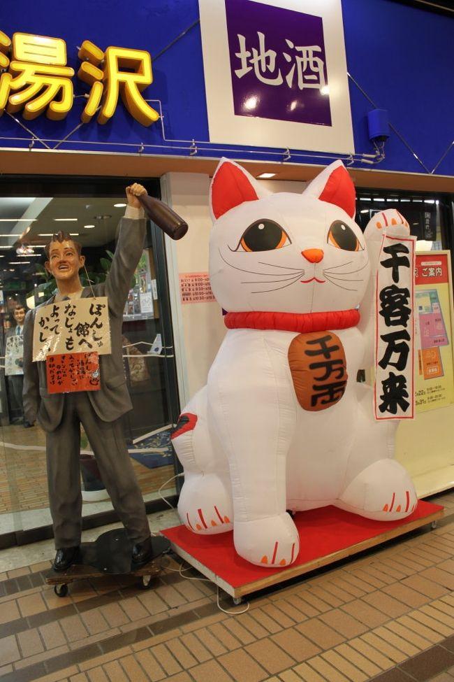 越後湯沢温泉。<br />一泊二日のまったり旅行。<br /><br />ここはとにかく駅からして楽しめました。<br />お土産センターにお食事処。<br />巨大な招き猫に招かれてチェックイン前にもかかわらず、すでにお土産を物色して楽しんでしまいました。<br /><br />お宿は越後湯沢駅より徒歩五分〜双葉〜。<br />雪道の五分は長く感じましたが、お財布の紐は硬い・・・。<br />負けるもんか〜と荷物をひきながら徒歩にて到着。<br /><br />露天風呂客室をチョイスしましたが、大浴場じたいが種類豊富で楽しいです。<br /><br /><br /><br /><br /><br /><br /><br />