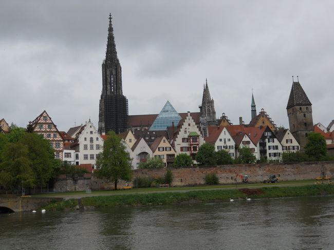 ドイツ8日目の5月3日(月)は、最初に、<br />8:05フュッセン〜9:57アウクスブルクのRB、10:03アウクスブルク〜10:49ウルムのICEに乗り、次の目的地のウルムへ行きます。<br />次の鉄道の12:54まで、ウルムを探索です。<br />