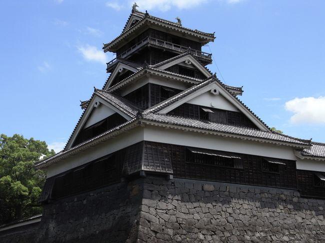 出張の空き時間に熊本城へ散歩です。<br /><br />熊本城そばのKKRホテル熊本に宿泊。何度か泊まったことのあるホテルです。<br /><br />ホテルは道路をはさんで城(石垣)に隣接し、天守閣が目前に見え、かなりの絶景ですが、実は再建天守です。今回は宇土櫓を見るのが目的です。<br /><br />ホテル前の道路を渡ると、すぐ石垣で坂を少し登るとと加藤清正をまつった加藤神社。<br /><br />加藤神社の脇から、宇土櫓が顔を出します。<br /><br />熊本城は天守閣はもちろん、武者返しという急勾配の石垣や、最近復元された本丸御殿が有名ですが、宇土櫓は築城当時からのもの。もちろん木造、重要文化財とのこと。<br /><br />やぐらという名前ですが、天守といってもおかしくないくらいの立派なものです。大天守に比べて少し直線的でシャープなのが特徴。<br /><br />屋根の上の鯱は後代につけられたものとのことですが、それはそれであり、とも思えてしまいます。<br /><br />また、熊本城すぐ近く、JTビル南に高橋公園という小さな公園がありますが、なぜか立派な銅像がたくさんあります。<br /><br />その中にはなんと坂本龍馬も。隠れた名所です。<br /><br /><br /><br />