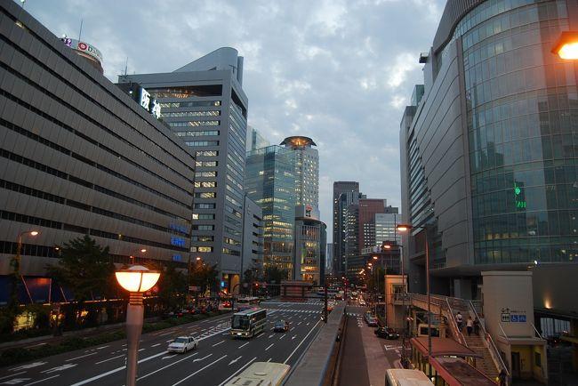 10月13日、午後5時半頃、12日からの大阪出張を終え、大阪駅に到着したので駅周辺を歩いて風景を撮影した。<br /><br /><br /><br />*写真は大阪駅の歩道橋より見た駅前の風景<br />右端はサウスゲートビルディング、左端は阪神百貨店、遠くにザ・リッツカールトンホテル大阪が見られる。