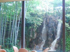 ホテルの中の素晴らしい日本庭園と滝