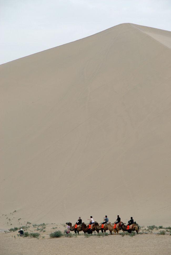 9月13日のその2。<br />特に用事があるという訳でもないのですが、鳴沙山にも出かけてきました。<br />そこにある月牙泉へ行くには、鳴沙山に入らなければならないので今回はパスしますが、沙漠の山を見てから、敦煌山荘に寄ってこようと思います。<br /><br />本来なら、4人で雅丹地貌にでも行こうと思っていたのですが、爺ぃの温度が下がってしまったので自然消滅した感じです。まあ、お天気も良くなかったので、出かけても良い写真は撮れないですしね。<br /><br /><br />あと、ChinaARTのドメインが、9月2日から突然使えなくなってて、北京から広州への引越があったので、そのままにしていました。<br />とうとうHPも見られなくなってしまったので、ちょっと焦ってきました。<br />メールは、Yahooメールも持っているのでそれで凌げますが、更新はしていないものの、長年使ってきたHPを含め、「ChinaART.jp」のドメインが使えなくなるのは問題です。<br />ドメイン提供元の「お名前.com」に問い合わせを入れましたが、果たしてどんな理由でこうなったのでしょうか・・・?