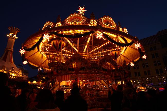 クリスマスのヨーロッパを巡る旅、2都市目はドイツのドレスデンです。<br />歴史のあるクリスマスマーケットはちょうど年に1度のシュトーレン祭りの日でもあったため大変賑わってました。<br />気温は今回の旅で一番低かったと思いますが、晴天にも恵まれ楽しい街歩きとなりました。<br />ドレスデンは当初、トラムで周ろうかと考えていたのですが徒歩で十分見て周れます。
