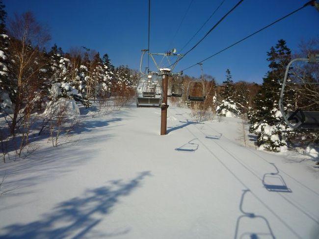 怒涛のような初日が終わり2日目です、網張温泉スキー場は平日は8:30からリフトが動きます、今日はシニア優待日でリフト1日券がなんと格安1,500円! もっとも休暇村宿泊者は1,500円で買えますが。<br />このスキー場歴史は相当古いようで高速リフトなんてものは無いけれどリフト3本分の滑走距離があり雪も良く快適でした。贅沢を言わなければこのスキー場で充分だと思いました。<br /><br />久しぶりにパウダーの新雪や深雪も滑ってみました、2回目に深雪の練習をしていてスキーの先端が重なり大転倒、どうも太腿の筋を痛めたようですが何とか滑りました。<br />スキーでこぶ斜面と深雪の練習はある程度のリスクは覚悟して何回も練習しないと上達しないのですがどの辺で妥協するかが難しいです。<br /><br />2時間ほど滑ってスキーセンターで一休みしていたらニュースキー試乗のポスターがあり、なんと無料 早速借りる<br />ことにしました。<br />レンタルスキーで有名なスワロースキーのMEGAWAVEβTITANAL 168Cm というスキーです、2回目に滑ってこのスキーの素晴らしさを感じることが出来ました。 安ければ欲しいな……と思いました。<br />http://www.megawave.jp/<br /><br />1時間半ほど使ってスキーを返却して折角なので近くにある岩手高原スノーパークというスキー場にバスで行ってみました、ここはローテクの網張と違いゴンドラリフトや高速リフトがあります。<br />食堂も若者向けに作ってあります。<br /><br />しかし決定的な欠陥?があります、ゲレンデが吹きさらしなので風に弱いゴンドラリフトは止まっていました、そのうちリフトも止まりだしました。<br />網張温泉スキー場は樹林帯にリフトを架けてあるので比較的風に強いのです。 こりゃ網張だけで充分だ。<br />まあ足があればもっとビッグな雫石スキー場もあるのですが。