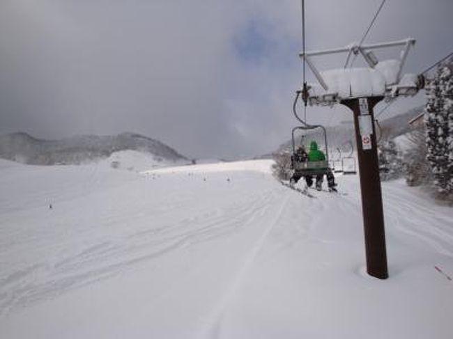 いやホントに今年は雪がよく降ります(^。^)<br />あんまり降りすぎても困るとは贅沢な悩みでしょうか。<br />ここ数年でこんなに関西のスキー場に雪が積もったのは、久しぶりではないかと思います(^v^)<br />ここ何年か続けて滑りに行ってるオジロに今年も行ってきました。<br />前日からの雪もあり、午前5時半に自宅を出て、10年超の四駆にスタッドレスを履かせて午前9時に到着しました。