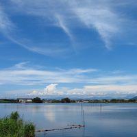 仕事後に通る、伊庭内湖・西の湖・大中干拓地の風景