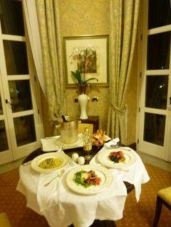 16日間の美食とビーチバカンスのシチリア!Vol104(第14日目夜) ☆パレルモ(Palermo):最後のディナーはジュニアスイートルームの塔の部屋で優雅なルームサービス♪