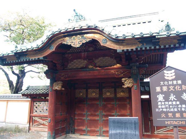 上野にある東京国立博物館が平成13年(2001年)に独立行政法人となると、平成15年(2003年)秋から毎年、秋と春に庭園が開放されるようになった。その時から道路の向こうの厳有院殿霊廟勅額門を東博庭園の鉄柵越に見て来ているのだが、8年も経って、ようやくその道路から(少しだけ近くから)見ることができた。<br /> 厳有院とは4代将軍徳川家綱公(寛永18年(1641年)〜延宝8年(1680年))の院号である。厳有院殿霊廟は、延宝8年(1680年)に、もと家光の上野霊廟の勅額門であったものを転用したものと考えられている。国の重要文化財に指定されている。<br /> 家綱の父・家光は慶安4年(1651年)4月に亡くなった。遺骸は「死後も東照大権現にお仕えする」の遺言により上野寛永寺に移され、慶安5年(1652年)2月から承応2年(1653年)4月の1年2ヶ月という短い期間で日光・輪王寺に大猷院廟が造営され、そこに埋葬された。「もと家光の上野霊廟」とは、慶安4年(1651年)に、上野・寛永寺に最初に建立された家光の大猷院霊廟をいう(。大猷院霊廟は享保5年(1720年)に焼失した)。3代家光は日光に埋葬され、大猷院霊廟が日光・輪王寺にも大規模で造営されてしまったから、厳有院殿霊廟が実質的な上野・寛永寺の最初の将軍霊廟となり、残っていたもと家光の上野霊廟の勅額門を家綱霊廟勅額門に転用したのであろう。<br />(表紙写真は厳有院殿霊廟勅額門)