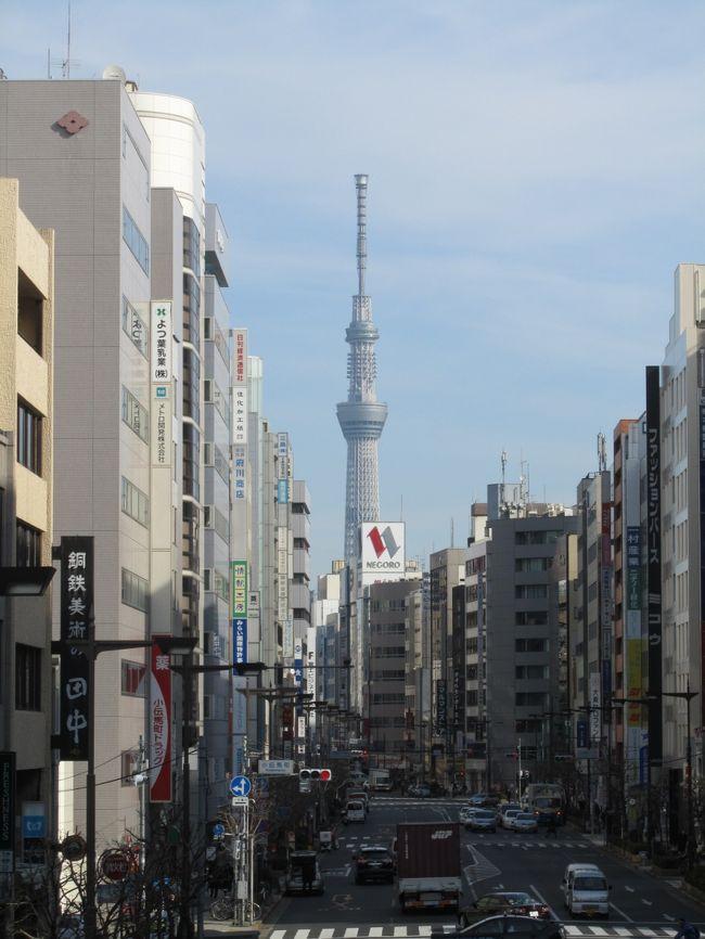 1月10日、午前11時頃、需要家訪問の序に小伝馬町江戸通りの陸橋から見られる東京スカイツリーを写真撮影した。<br />この江戸通りは浅草橋にほぼ直線であるために東京スカイツリーの撮影スポットでもある。<br /><br /><br />*写真は東京スカイツリー<br />