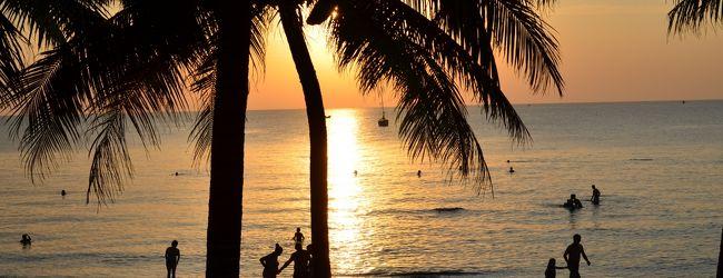 美しい浜と夕日
