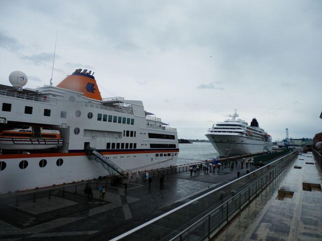 清水港初、外国客船2隻が同時入港したので見物に行きました。<br />3月10日、半日だけともにドイツの船会社が運航する大型客船「アマデア号」(2万8856トン)と「コロンバス号」(1万5000トン)が、静岡市清水区の清水港に入港した。同港に外国客船が2隻同時入港するのは初めてのため、雨の中日の出埠頭に行き寄港の様子を見物しました。<br />この2隻の客船計約780人の乗客の多くは、同港から久能山東照宮などを巡るツアーに行き半日観光を楽しむ。<br />アマデア号は、日本の客船でした初代・「飛鳥」を2006年に改装した船(全長192メートル)で、オーストラリアからの地球半周クルーズの途中に寄港しましたが、改装後の清水港への入港は初めてです。<br />コロンバス号は、冒険クルーズ客船(全長144メートル)として1997年に建造され、上海からの18日間の航海途中で、清水港には初入港となりました。<br />船籍は、カリブ海のバハマ諸島・NASSAUです。<br />両船は、午後それぞれ次の寄港地の大阪と那覇へ向け出港しました。<br /><br />