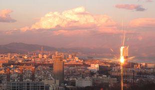 2011.12スペインカタルーニャ・アンドラ旅行19-夕暮れのMontjuic城は美しい