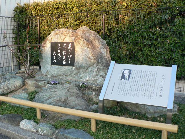 塚原古墳群は15群・約110基を数えた大阪府高槻市の古墳群で、塚原八十塚と呼ばれていたが現在40基ほど残っている。1872年、ウイリアム・ゴーランドによって有名となり、古墳研究の先駆けとなった古墳群として注目された。ウィリアム・ゴーランド(1842−1922年)は明治政府がイギリスより大阪造幣寮(現造幣局)に招聘した化学兼冶金技師で日本の古墳研究の先駆者としても知られ日本考古学の父と呼ばれている。<br />古墳群は、阿武山東・南斜面一帯に営まれた6世紀中頃から7世紀中頃に造られた、府下屈指の群集墳で東は高槻赤十字病院構内、西は安威川、南は経王寺境内、北は京大阿武山地震観測所付近にまで及んでいる。古墳群に葬られた人々は、安威川流域にあった集落の有力者層と考えられ古墳の多くは横穴式石室をもつ円墳で方墳や埴輪を巡らせた円墳もあり出土品は、土師器・須恵器の他、埴輪・装身具・馬具・鉄刀などの鉄製武器・刀の把頭などもあるそうだ。<br />高槻市冨田(とんだ)町には「大宅壮一顕彰碑」が生家近くの府道わきに建立されている。地元有志による「大宅壮一顕彰碑を建てる会」により、大宅壮一氏直筆の「美しいバラは野茨の根の上に咲く」という言葉が自然石(高さ1.4m、幅2.7m)の碑に彫りこまれ、生前の活躍を称えている。<br />大宅 壮一(おおや そういち、1900−1970年)は、ジャーナリストで毒舌の社会評論家として有名で三女はジャーナリストの大宅映子。大阪府三島郡富田村(現高槻市)の醤油屋の三男として生まれ旧制富田尋常小学校、高等小学校から旧制茨木中学(現・大阪府立茨木高等学校)に進学した際には川端康成が三学年上に在籍していた。その後第三高等学校、東京帝国大学文学部に進学しジャーナリストになるが「一億総白痴化」「駅弁大学」「口コミ」「恐妻」など時代をとらえた造語を数多く生み出した毒舌の社会評論家として親しまれた。<br />高槻市にも近い総持寺駅(そうじじえき)は、大阪府茨木市総持寺駅前町の阪急電鉄京都本線の駅。<br />駅前は商店街で、周辺には総持寺団地、閑静な住宅地、総持寺などがあり古い街並みもある。<br />(写真は「大宅壮一顕彰碑」)<br />