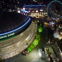 07.GWの東京1泊旅行 東京ドームホテル ルームサービスの夕食 東京ドームシティーの夜景