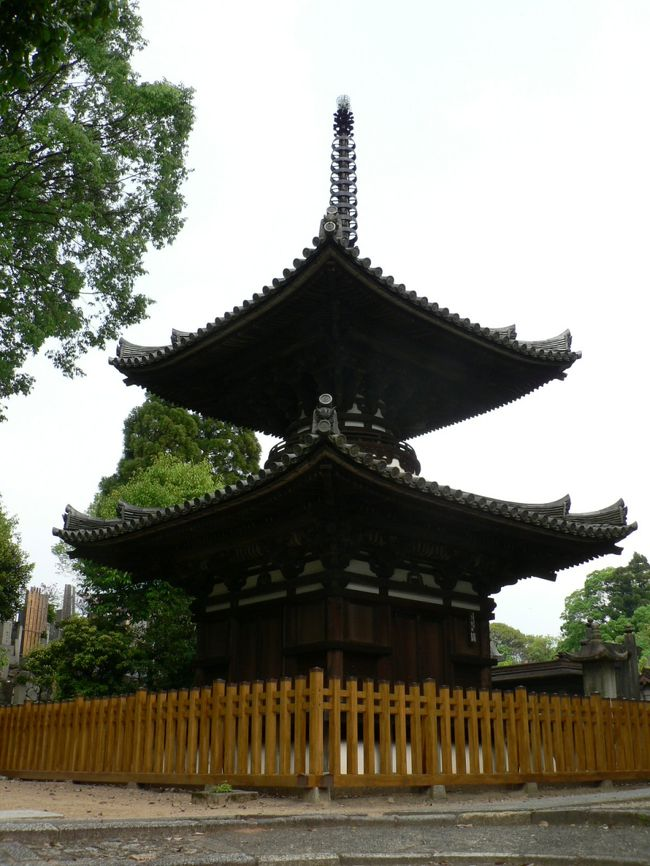 宝塔寺(ほうとうじ)は、京都府京都市伏見区にの日蓮宗の寺院で平安時代に藤原基経(ふじわら の もとつね、836−891年)の発願により創建され源氏物語「藤裏葉」帖にも登場する極楽寺が前身。<br />極楽寺は基経の没後、嫡子で菅原道真(すがわら の みちざね、845−903年)を讒言して大宰府へ左遷させたことで知られる藤原時平(ふじわら の ときひら、871−909年)により899年に建立された。<br />本堂(1608年建立)、多宝塔(室町時代建立)、四脚門(室町時代建立)は国指定の重要文化財だが特に多宝塔が美しい。<br />(写真は宝塔寺の多宝塔)<br />